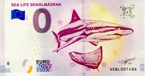 ESPAGNE Benalmádena, Sea Life, 2019, Billet Euro Souvenir