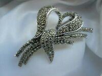 Vintage SPHINX Silver Tone Marcasite Flower Leaf Spray Bouquet Brooch Pin