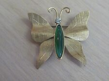 Estate Costume Krementz Butterfly Textured Pin Gold Tone