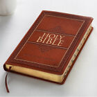HOLY BIBLE King James Version Large Print Thumb Indexed Tan Faux Leather NEW