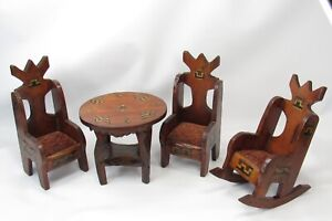 Vintage 1920-30s Folk Art Inlaid Wood Table Chairs Rocker Doll House Furniture