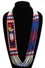 NE146-402 Fine Glass Hand Beads Blue Medicine Wheel Feather Necklace Crystal