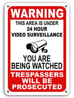 Warning Under 24 Hour Video Surveillance Sign Home Yard Security cctv WATCH 7x11