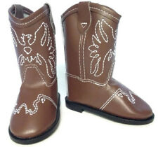 Brown w/Eagle Accent Cowboy Boot Shoes for 18 inch American Girl Doll Clothes