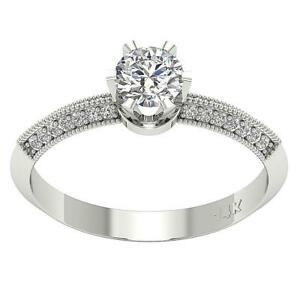 Solitaire Engagement Ring I1 G 1.01 Ct Natural Diamond Appraisal 14K White Gold