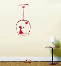 Banksy Girl Globo Copa De Vino Pegatinas Vinilo Decorativas Cocina Comedor Mural