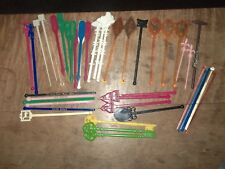 Vintage Assorted Lot 40 Total Swizzle Sticks 5 Glass Multi Brand & Designs USED