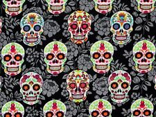 SUGAR SKULL FABRIC COLORFUL SKULLS FLORAL QUILT MATERIAL 100% COTTON BY THE YARD