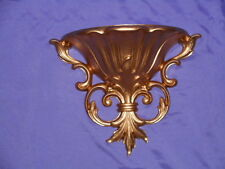 Vintage Homco Home Interior Gold Scroll Wall Pocket Planter #4446