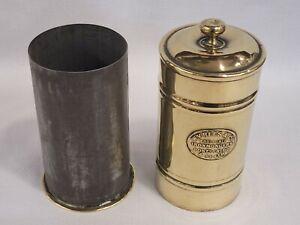 ANTIQUE WELSH MINERS BRASS SNUFF BOX TOBACCO JAR WV REES & Co PONTYPRIDD & PERTH