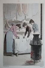Eau-forte aquarelle pochoir La Femme à Paris Pierre Vidal Fred. Massé Uzanne 16