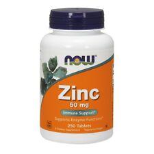 NOW Foods Vegetarian Formula Zinc 50 mg 250 Tabs, FRESH Made In USA FREE US SHIP
