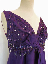 Vintage Silk Shantung Purple Beaded Evening Gown - 1960s - Small