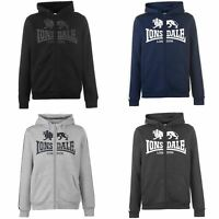 Lonsdale 2 Stripe Logo Full Zip Hoody Mens Hoodie Top Sweatshirt Sweater