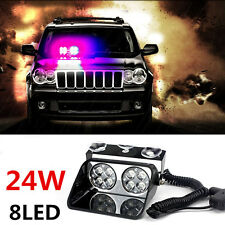 Car 8 LED Red/Blue Police Strobe Flash Light Dash Emergency Flashing Light 24W