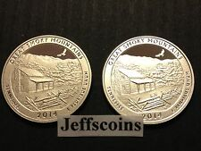 2014 S S Great Smoky Mountains 90% Silver & Clad Proof 2 QUARTERS Smokey US.Mint