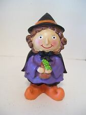 RESIN CHILD IN WITCH COSTUME DECORATION HALLOWEEN TRICK OR TREAT AUTUMN FALL