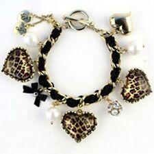 BETSEY JOHNSON Triple Leopard Heart Ribbon & Pearl Charm Bracelet*U.S+NWT*
