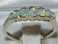 Solid Sterling Silver Natural Fiery Opal Contemporary StyleEternity Band Ring