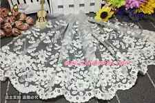 HB129 35cm,1yard Delicate white embroidered flower tulle lace trim Sewing DIY
