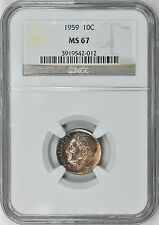 1959 NGC MS67 MS-67 HIGH GRADE BEAUTIFULLY TONED ROOSEVELT DIME