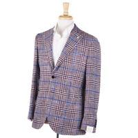 NWT $895 L.B.M. 1911 Burgundy-Blue Knit Check Silk-Cotton Sport Coat 40 R