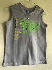 BNWT Boys Sz 8 Ozemocean Brand Grey/Print 100% Cotton Stretch Muscle Top