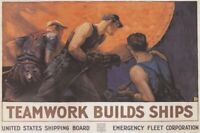 TEAMWORK BUILDS SHIPS ~ 24x36 VINTAGE STYLE WAR POSTER ~ NEW/ROLLED!