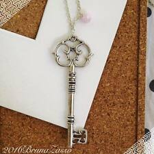 Collana Chiave Cute Key Necklace Moda Vintage Hipster Colore Argento Perlina