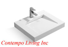 24-Inch Stone Resin Solid Surface Square Shape Bathroom Vanity Vessel Sink
