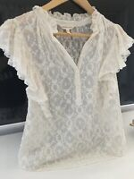 Pretty Rebecca Taylor cream silk frilled embroidered blouse size 8