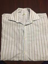 Borrelli Mens Long Sleeve Blue White Gray Stripe Button Up Shirt 15 3/4 40 ITALY