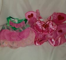 Build A Bear Clothing Costume Fairy Wings Princess Dress Pink Red Green Lot of 2