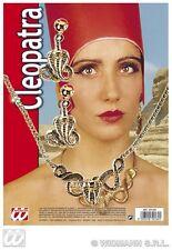 Collier et boucle d'oreille cobra Set Bijoux dorés cléopatre egyptienne [5016h]