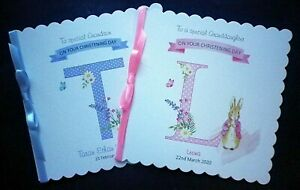 Personalised Christening card, with a rabbit. For a Boy or Girl. Blue or Pink