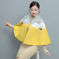 Womens Ethnic Vintage Style Wool Blend Cape Coat Chinese Embroidery Cloak Jacket