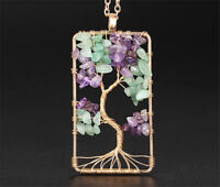 Women Rectangle Tree of Life Copper Wire Wrap Gemstone Chip Bead Pendant Jewelry