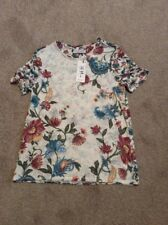 BNWT IVORY MIX PER UNA MARKS AND SPENCER BURNOUT FLORAL PRINT T SHIRT SIZE 8
