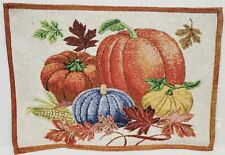 "Set of 2 Tapestry Placemats, 13"" x 18"", Fall Harvest,Leaves, Pumpkins & Corn, Dg"