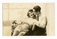 1920s Risque near Nude French RPPC Photo Postcard LINGERIE FLAPPER Romance