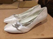 Women's Cream Satin Kitten Heel Pumps with Crystal detail, size 8