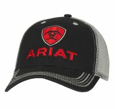 Ariat Mens Black and Grey with Red Logo Mesh Back Cap