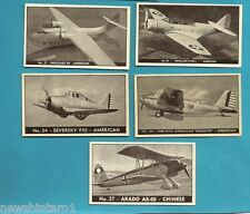 #D199. FIVE 1938-42 AIRPLANE CARDS, PLANES OF OTHER NATIONS #20, 21, 25, 24 & 27
