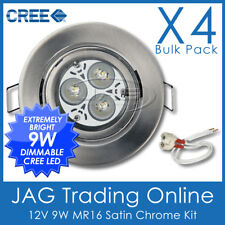 4xKITS 12V 9W 3x3W CREE WHITE LED MR16 DOWN LIGHT, BRUSHED CHROME GIMBAL HOUSING