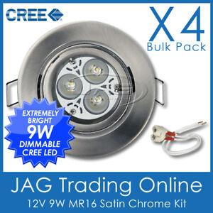 4xKITS 12V 9W 3x3W CREE WHITE LED MR16 DOWN LIGHT, BRUSHED CHROME GIMBAL HOUSING