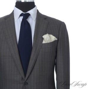 #1 MENSWEAR Ermenegildo Zegna Trofeo 600 Milano Brown Grey Blue Stripe Suit 50 L