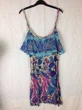 Lovely Ladies Flamingo Ruffle Print Strappy Summer Dress Medium