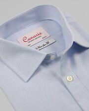 Men's Formal Shirt Light Blue Cotton Tencel Mix Luxury Weave