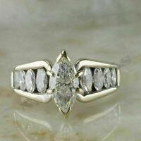 1.20Ct Marquise Cut D/VVS1 Diamond Engagement Wedding Ring 14K White Gold Finish