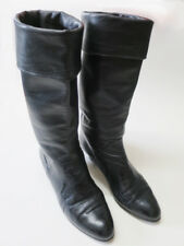 Circa 1980s - Stylish Black Ladies Leather Boots Made in Italy - (Height 360mm)